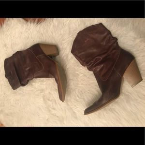 Rampage brown leather upper heeled boots